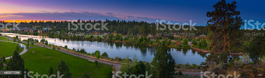 City of Bend with morning sky and Deschutes river stock photo