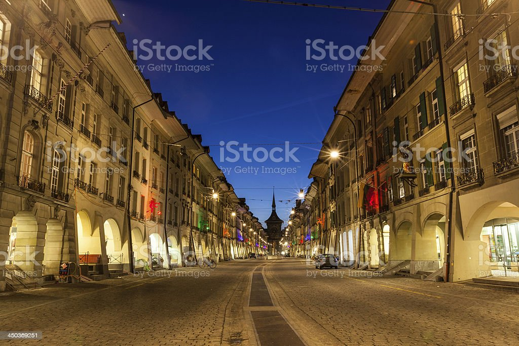 City of Bern at Twilight stock photo
