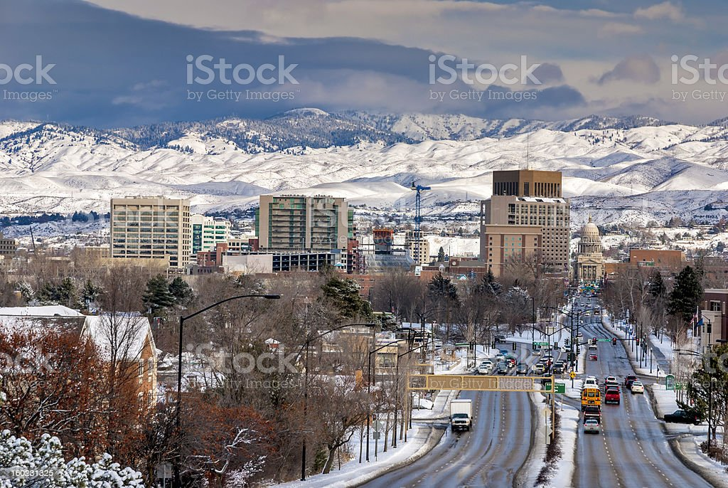 City of Boise and School Bus winter stock photo