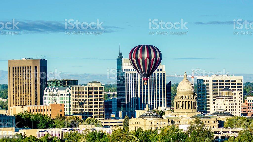 City of Boise Idaho skyline and hot air balloon stock photo