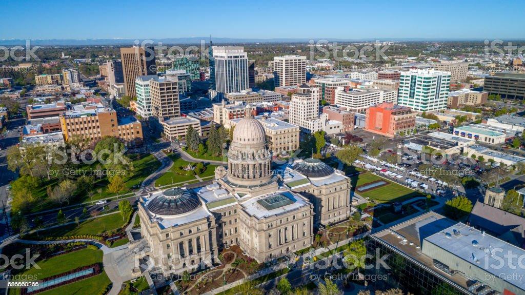 City of Boise Idaho with the Capital in the foreground foto de stock libre de derechos