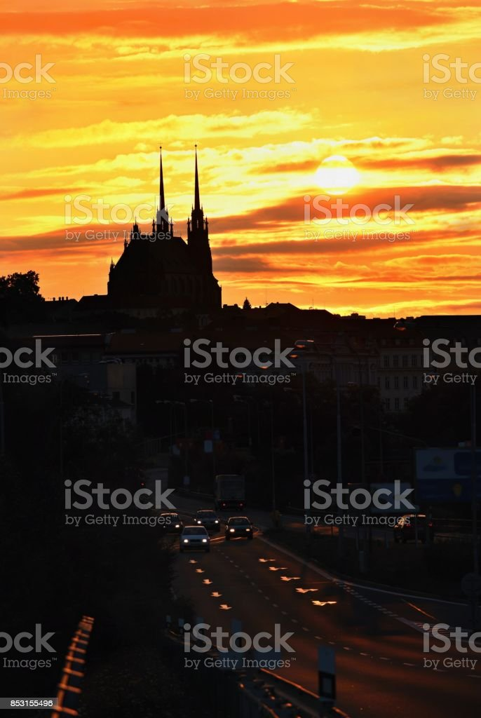 City of Brno, Czech Republic. Petrov - St. Peters and Paul church in sunset - sunrise. stock photo