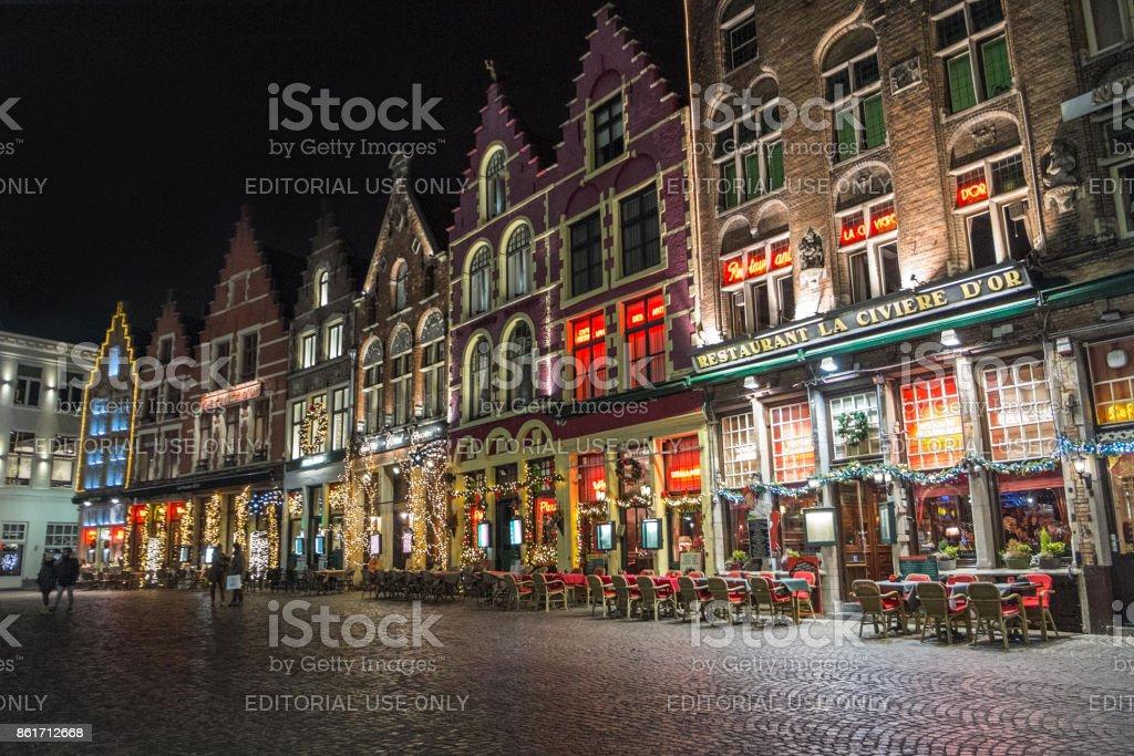 ville de Bruges, dans la nuit - Photo