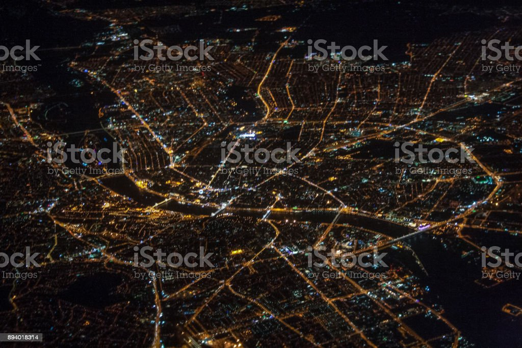 City of Budapest seen from the airplane stock photo