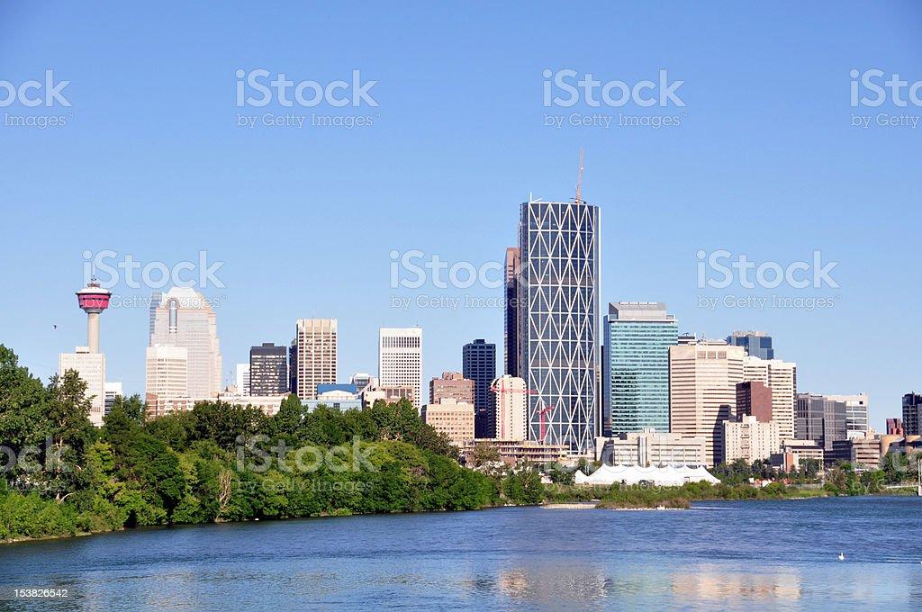 City of Calgary against a blue sky stock photo