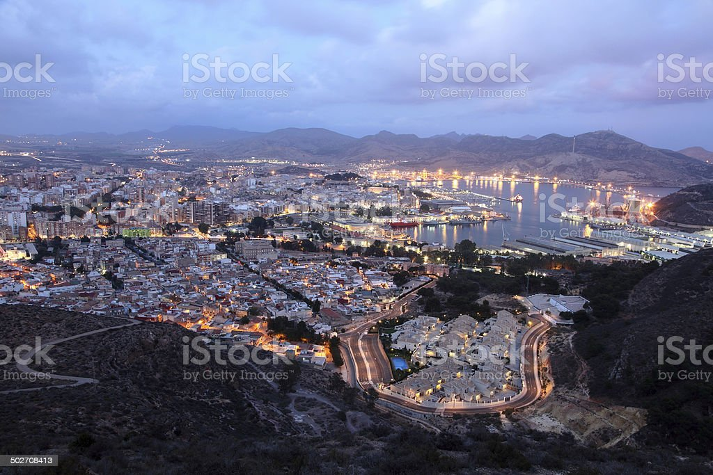 City of Cartagena at night, Spain stock photo