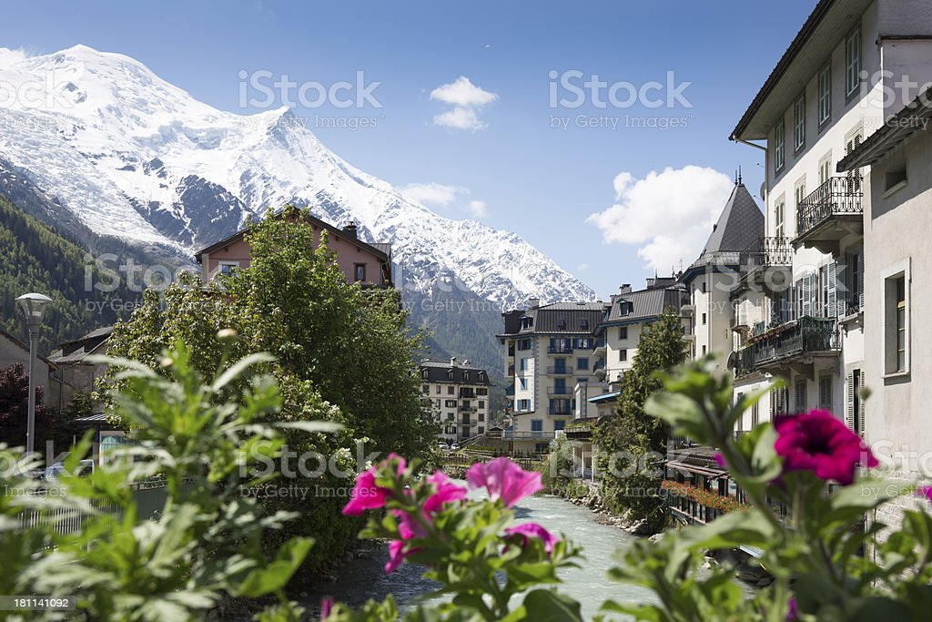 City of Chamonix and Flowers In Summer, France stock photo