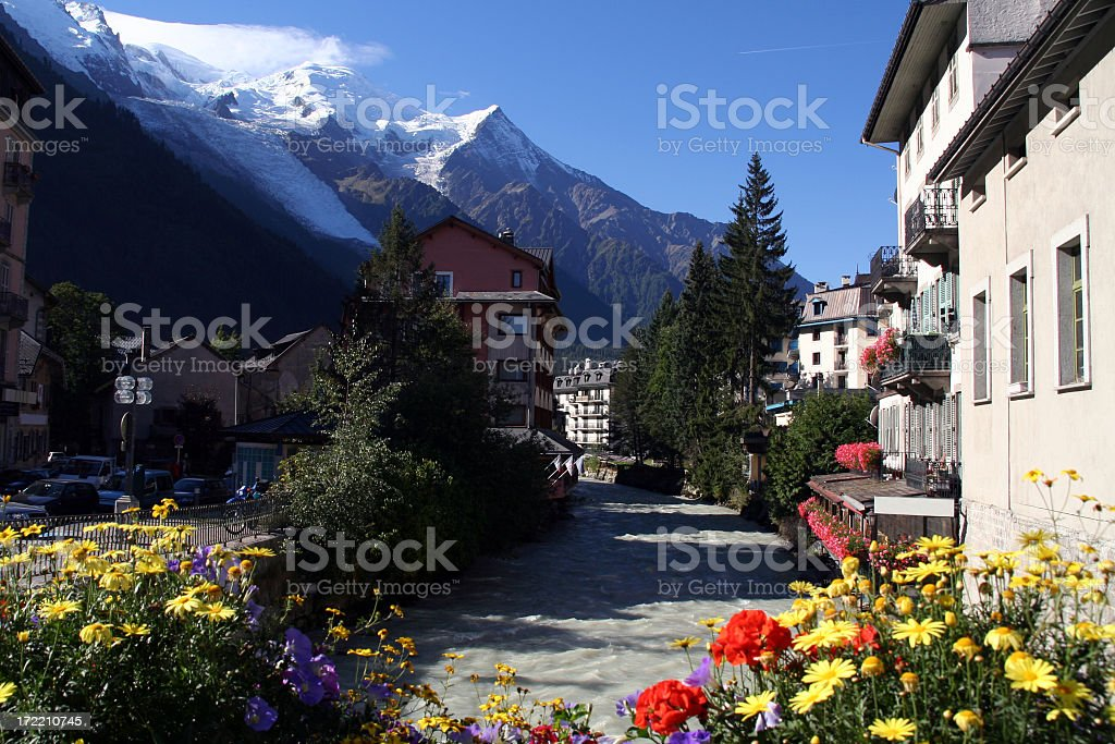 City of Chamonix and Flowers In Summer stock photo