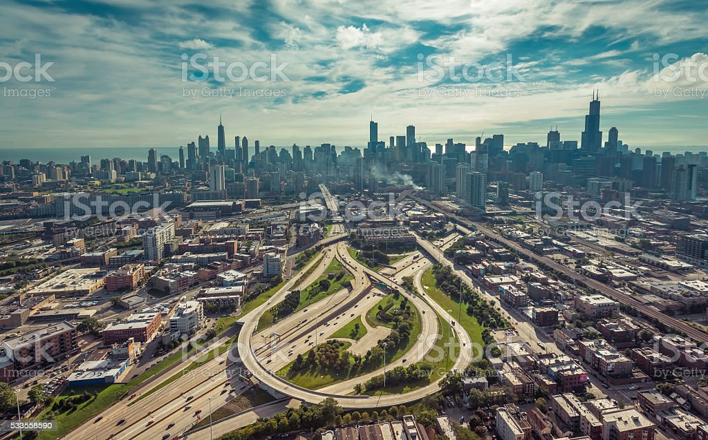 City of Chicago aerial view stock photo