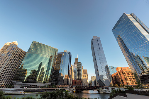 City of Chicago at sunset