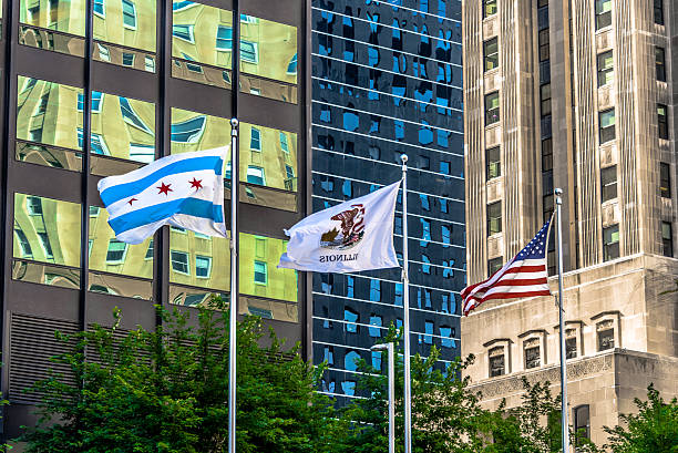 City of Chicago Flag in Downtown Chicago stock photo