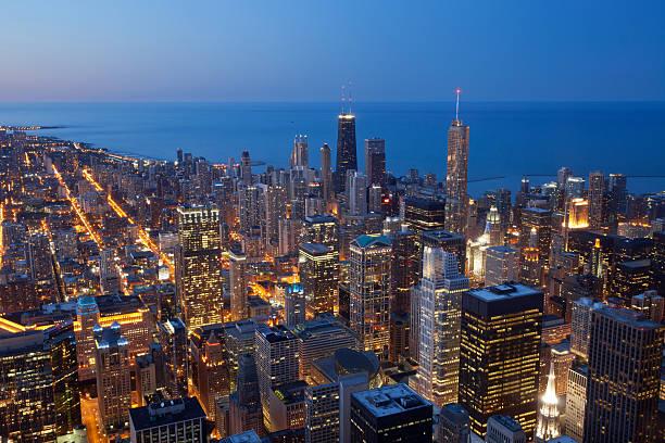 ciudad de chicago. - edificio hancock chicago fotografías e imágenes de stock