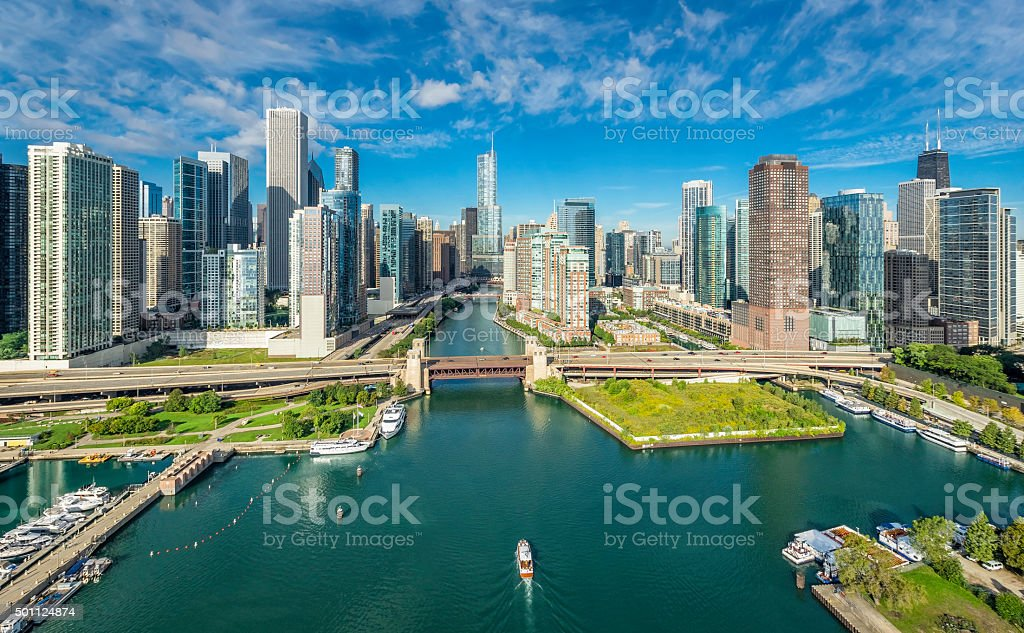 City of Chicago Skyline aerial view stock photo