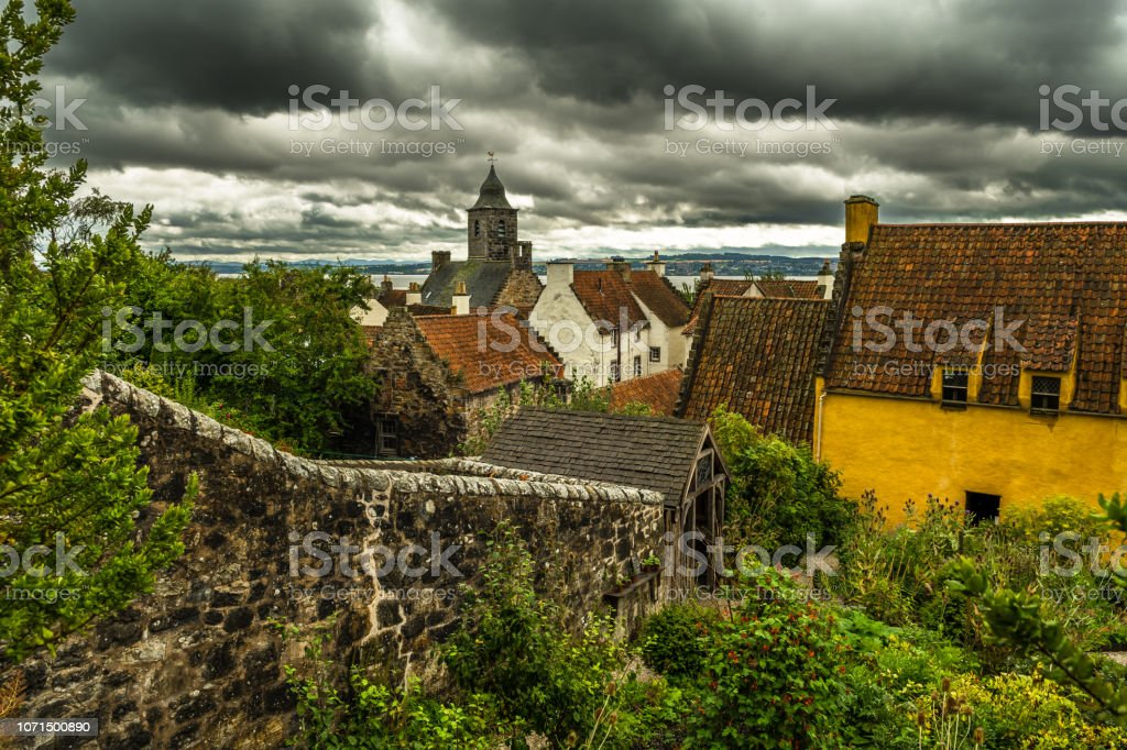 City Of Culross With Culross Palace And Garden In Scotland stock photo