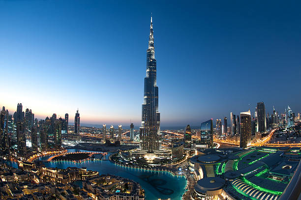 City of Dubai Burj Khalifa gorgeous image of dubai cityscape after sunset, please also check the other brilliant collections below. burj khalifa stock pictures, royalty-free photos & images