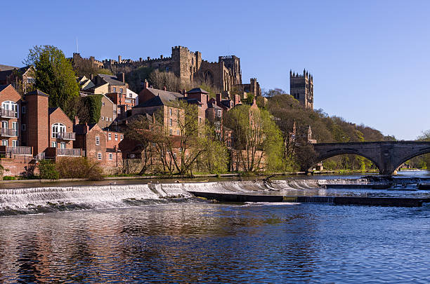 City of Durham Durham with the famous Cathedral and Castle across the River Wear in Springtime northeastern england stock pictures, royalty-free photos & images