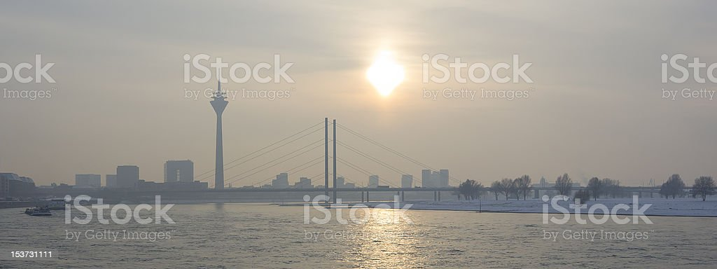 City of Dusseldorf at the Rhine in Germany stock photo