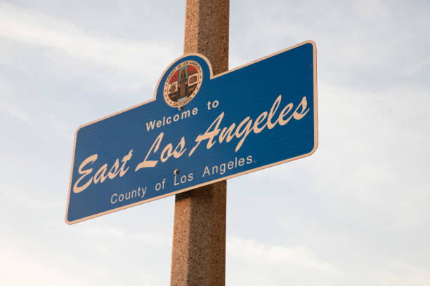 City of East Los Angeles Sign City of East Los Angeles Sign east stock pictures, royalty-free photos & images