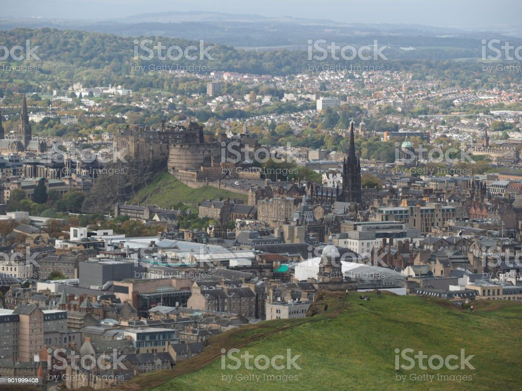 city of edinburgh seen from arthurs seat stock photo