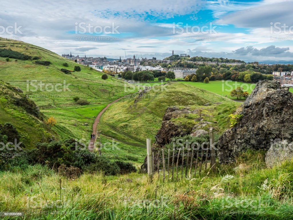 city of edinburgh with landscape stock photo