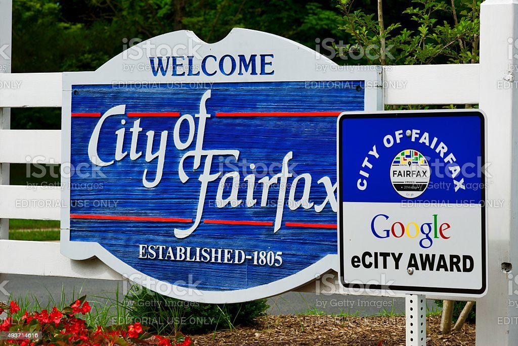 City of Fairfax Welcome Sign stock photo