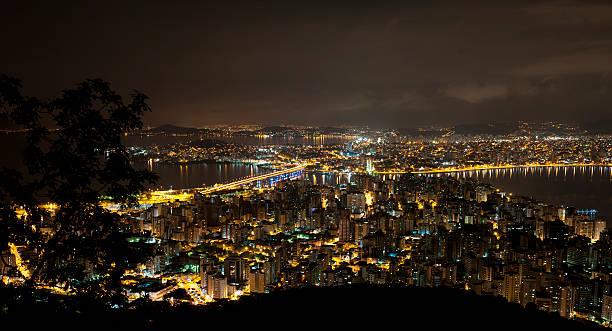 City of Florianopolis in Santa Catarina, Brazil at night. stock photo