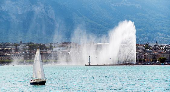 City of Geneva with Jet d'Eau fountain in Switzerland