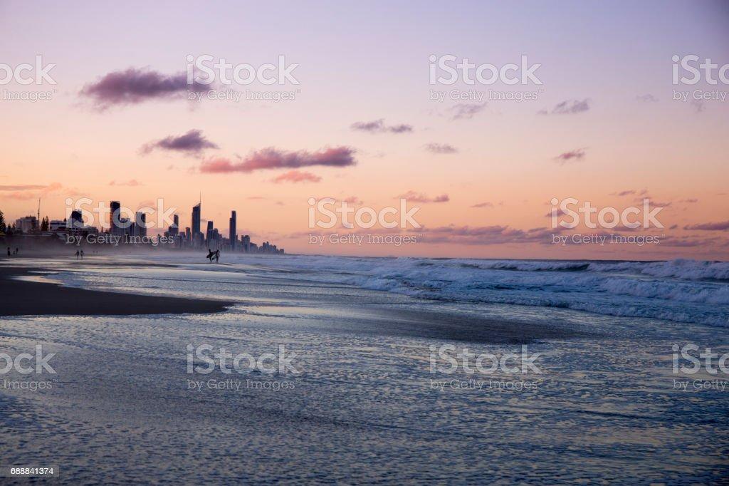 City of Gold Coast at Sunset stock photo