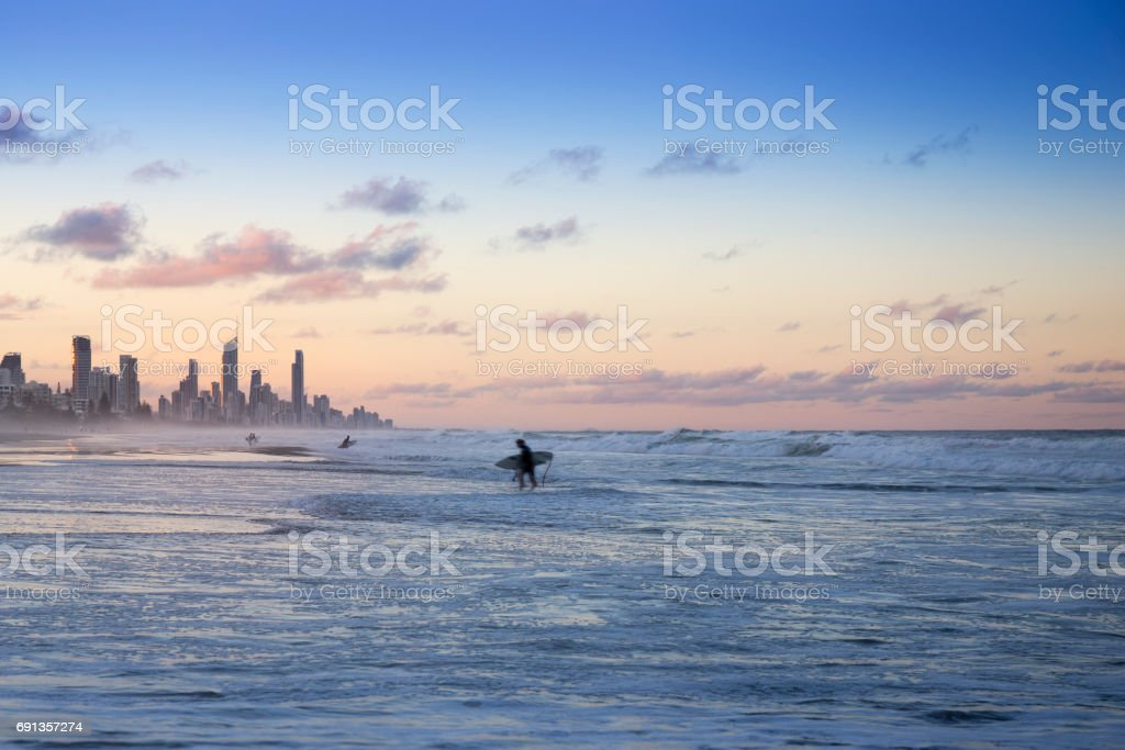 City of Gold Coast at Sunset stock photo