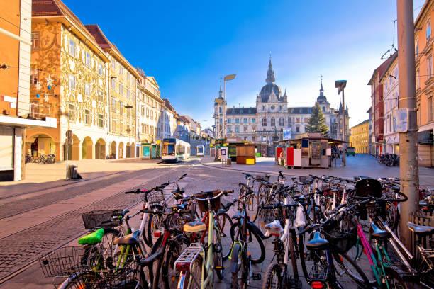 stadt graz hauptplatz wichtigsten quadratische advent ansicht, steiermark region österreichs - stadt graz stock-fotos und bilder