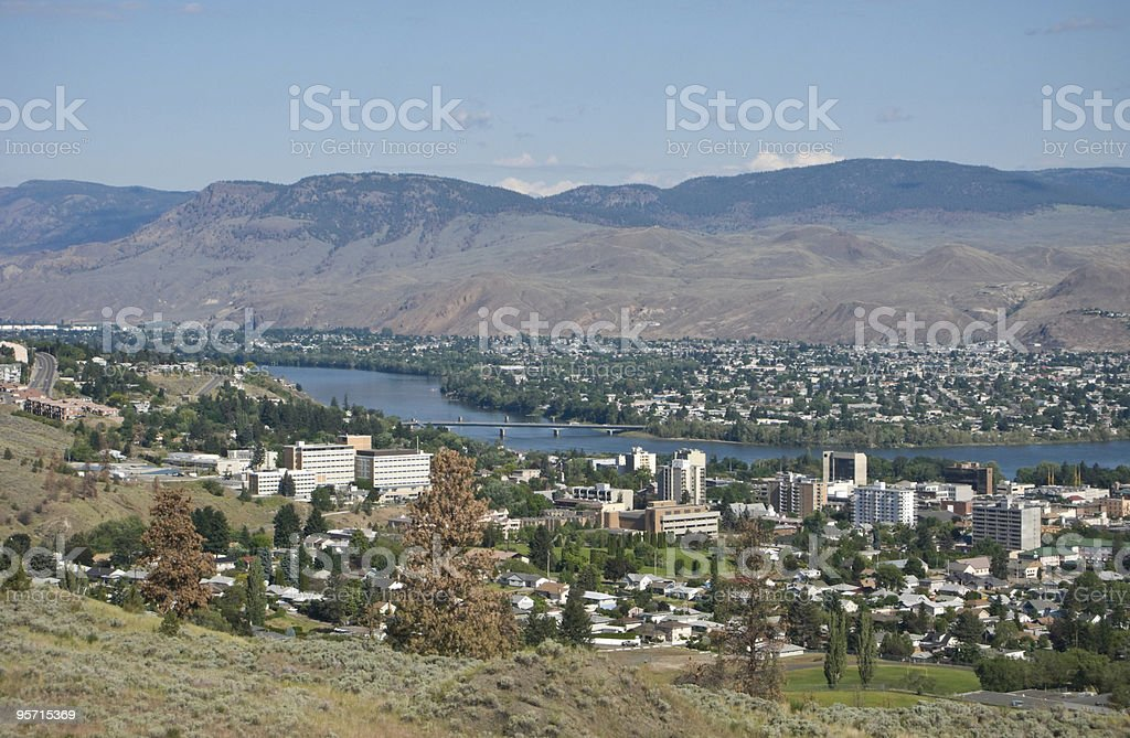 City of Kamloops, Thompson River stock photo