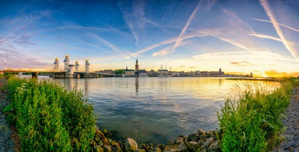 City of Kampen in The Netherlands during a colorful sunset stock photo