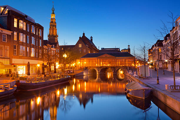 City of Leiden, The Netherlands at night The city of Leiden in The Netherlands at night. leiden stock pictures, royalty-free photos & images