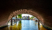 Shot from the water, under a bridge view on the Rapenburg
