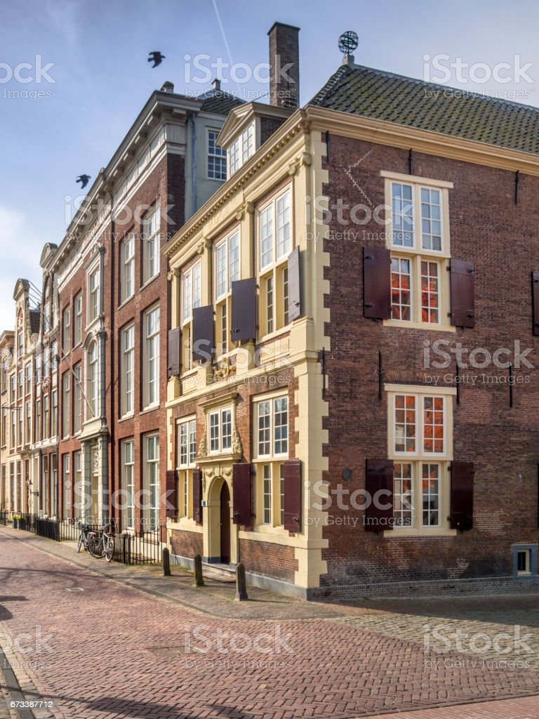 City of Leiden with his canals in early morning sun stock photo