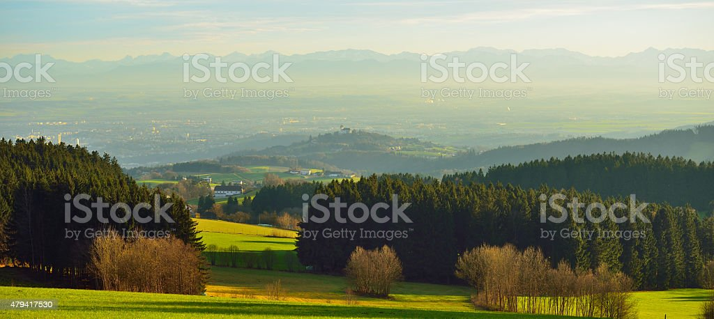 City of Linz seen from north in winter stock photo