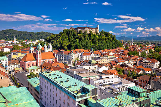 City of Ljubljana center aerial view City of Ljubljana center aerial view, capital of Slovenia ljubljana stock pictures, royalty-free photos & images