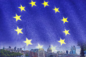 City of London blended with a EU flag.