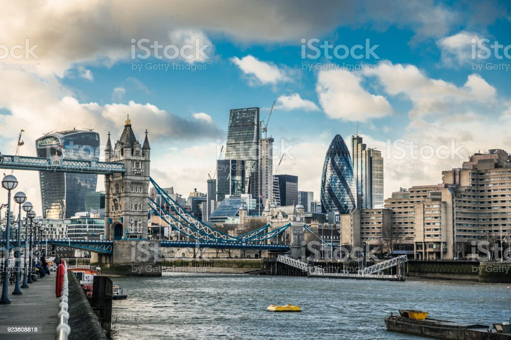 City of London and Tower Bridge stock photo