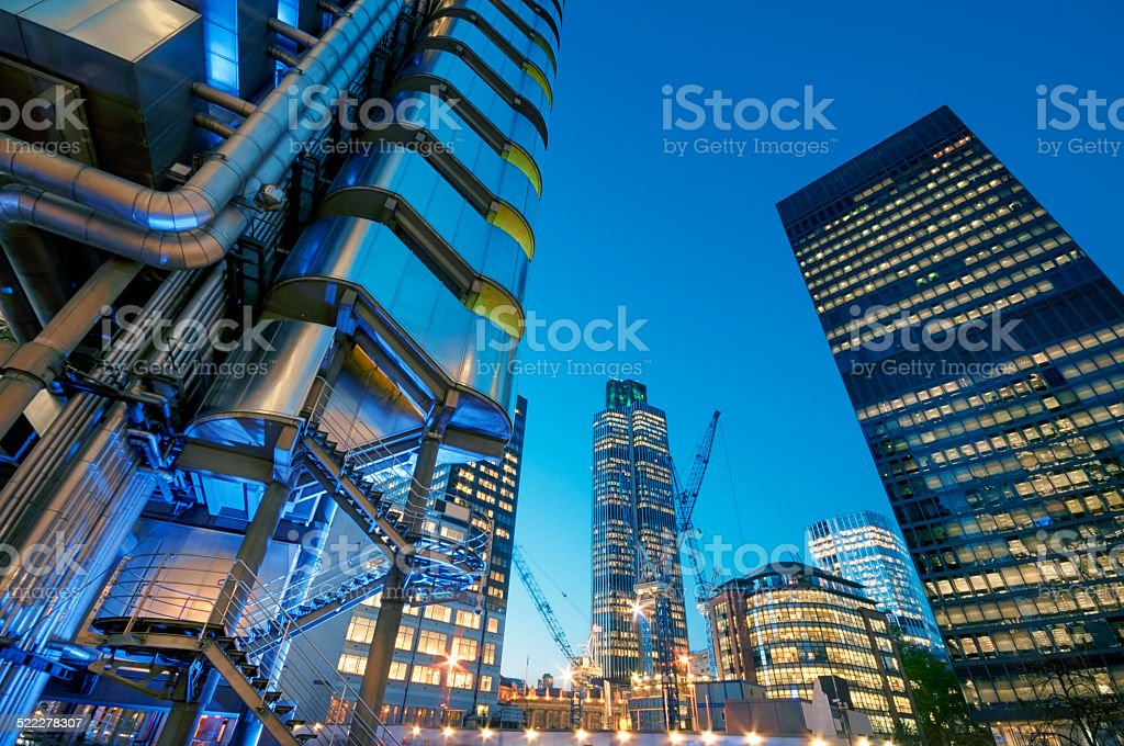 City of London at night. stock photo