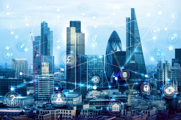 stadt von london bei sonnenuntergang und geschäftliche verbindungen konzept netzdarstellung mit viele business icons. idee, technologie, transformation und innovation. - europäische währung stock-fotos und bilder