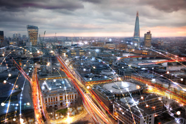 City of London at sunset and business network connections concept illustration. Technology, transformation and innovation idea. stock photo