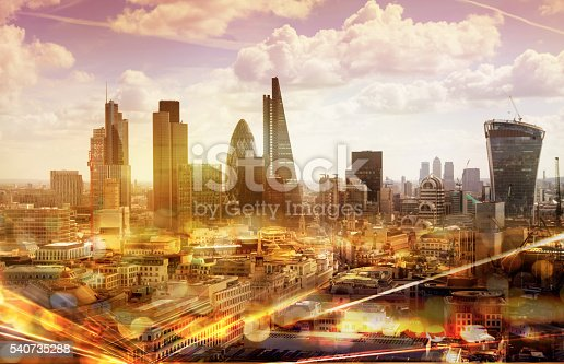 istock City of London at sunset and traffic lights reflection, London 540735288