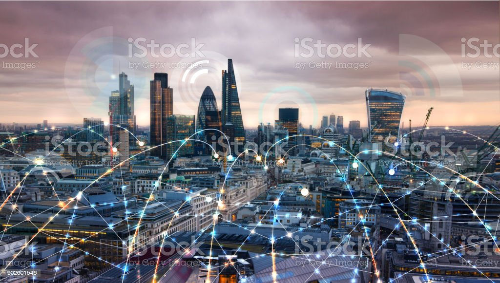 City of London at sunset. Illustration with communication and business icons, network connections concept. stock photo