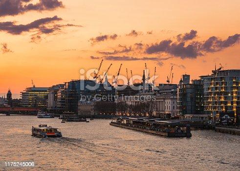 City Of London at sunset, River Themes, London, UK