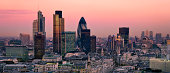 City of London one of the leading centres of global finance. This view includes Tower 42 Gherkin,Willis Building, Stock Exchange Tower and Lloyd`s of London and Canary Wharf at the background.