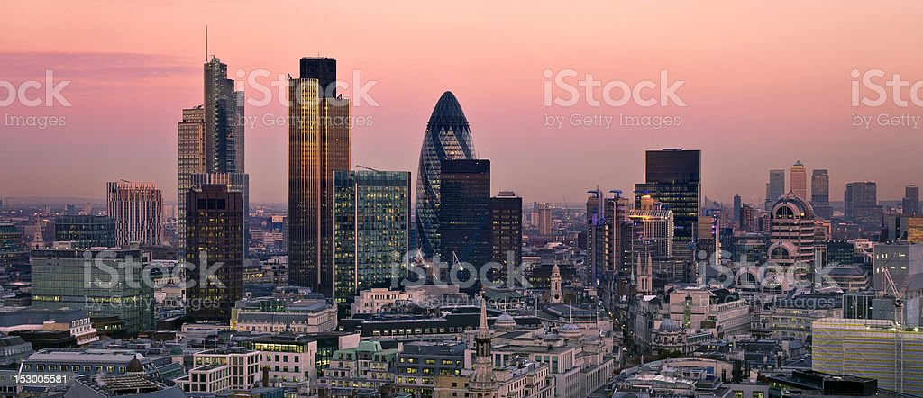 City of London at twilight stock photo