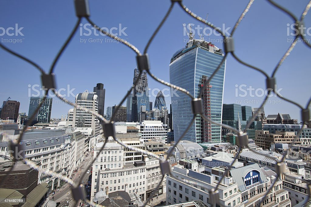 City of London Behind wire net royalty-free stock photo