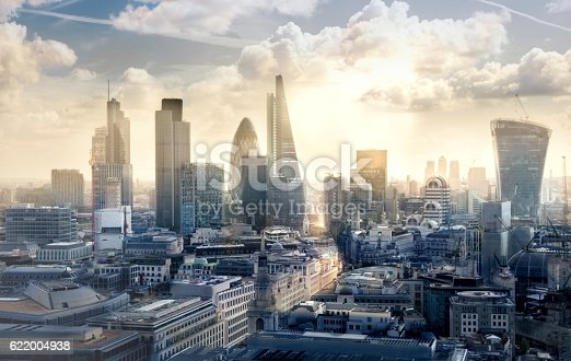 istock City of London business and banking aria at sunset 622004938