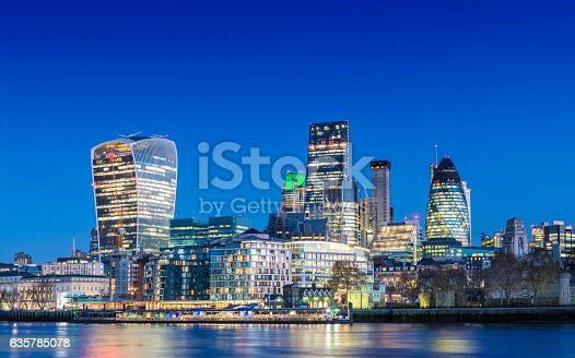 City of London downtown financial area skyline at twilight, United Kingdom